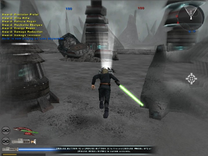Luke Skywalker sprints to BF2's command post